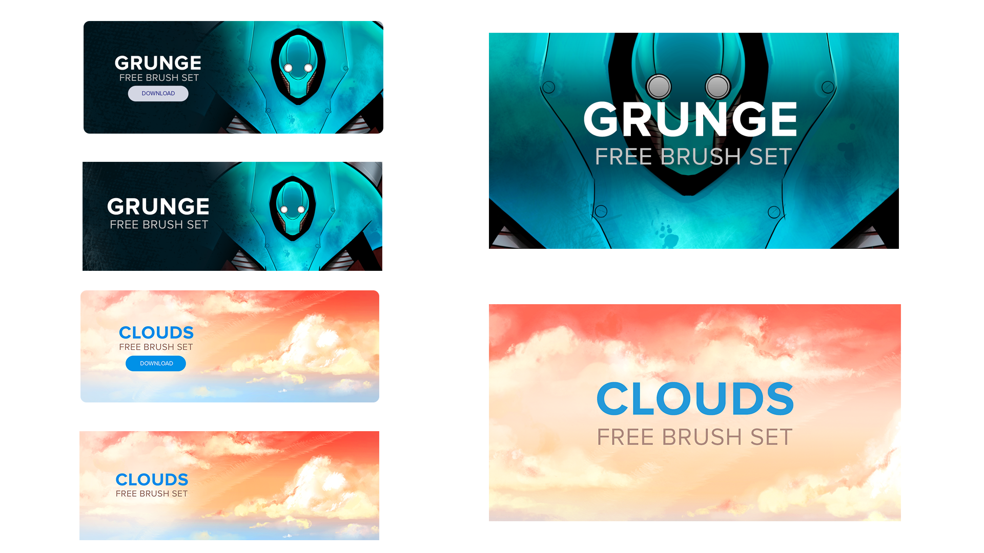 Banners with original art formatted for web, email, and application use